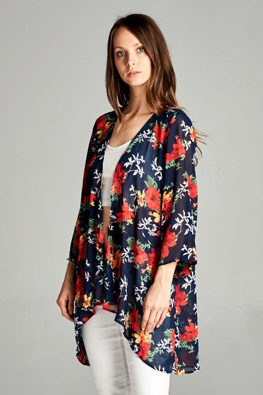 dd17665dfd Wholesale clothing CARDIGAN  Chiffon Floral Print Kimono Cardigan.