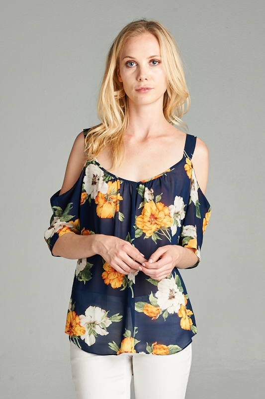 dff76d94ddbd91 Wholesale clothing WOVEN TOP  Chiffon Bold Floral Print Cold Shoulder Blouse