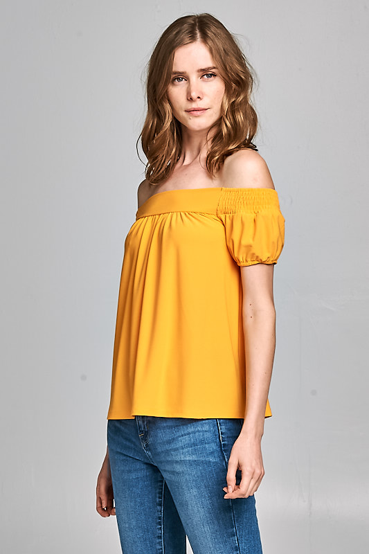 bad1af1da11 PrevNext. 3284T17216 - KNIT TOP. Crazia Off shoulder Top with Smocking ...