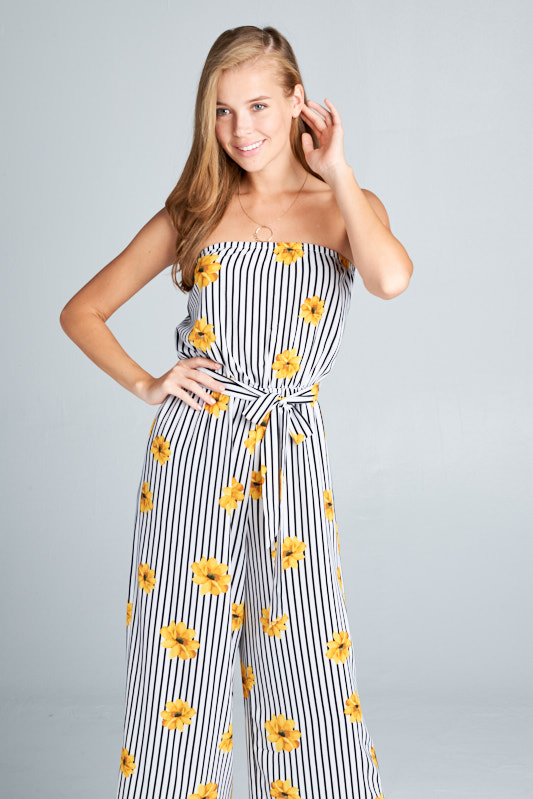 447a9e3eb3b3 Wholesale clothing JUMPSUIT  Bubble Crepe Mixed Stripe and Flower Strapless  Jumpsuit with Elastic Waistband and Self Tying Belt.